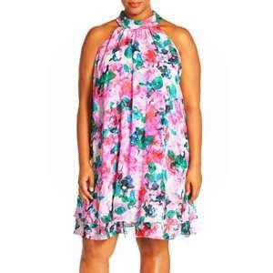 Eliza J 14 Dress Floral Chiffon Mock Trapeze Swing